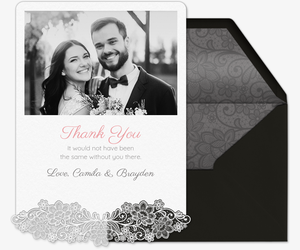 Lace Wedding Thank You Invitation