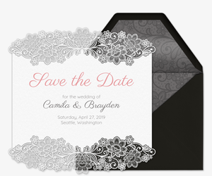 Lace Wedding Save the Date Invitation