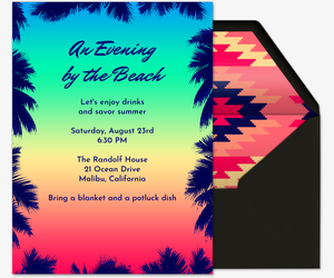 Beach Birthday On Sand Sunset Palm Leaves Invitation
