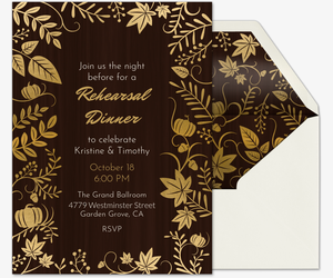 Fall Wedding Rehearsal Dinner Invitation