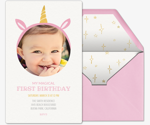 Unicorn Invitation Premium First Birthday Crown