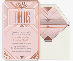 Art Deco Gatsby Rehearsal Dinner Invitation