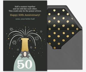 Champagne Bottle 50th Anniversary Card
