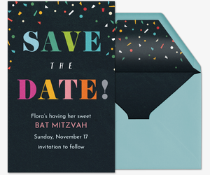 Merriest Confetti Save the Date Card