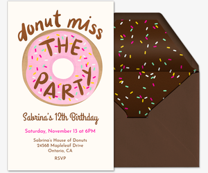 Donut Miss The Party Invitation