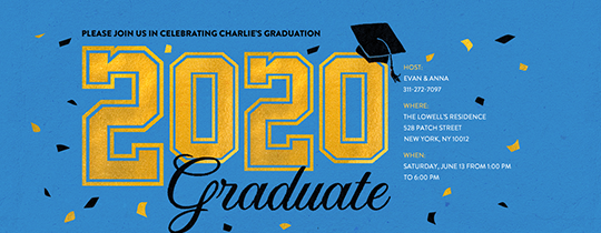 2020 Graduate Blue Invitation