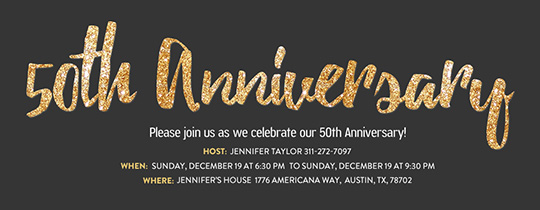 50th Anniversary Glitter Invitation