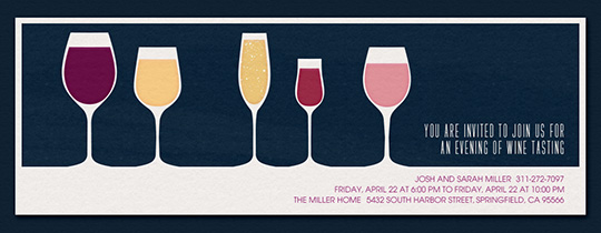 5 Wine Glasses Navy Invitation