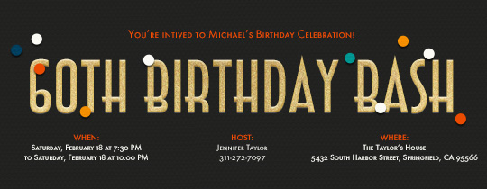 60th Birthday Bash Invitation