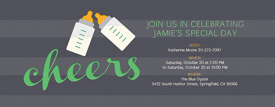 Baby Bottle Cheers Invitation