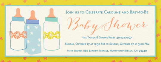 Baby Bottle Trio Invitation