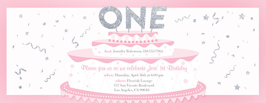 Baby Girls First Cake Invitation Free