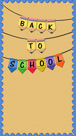 Back to school party invitation. Flyer with hand lettering header.