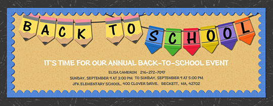 Back to School Banner Invitation
