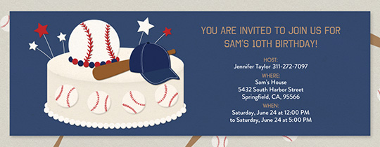 Baseball Birthday Cake Invitation