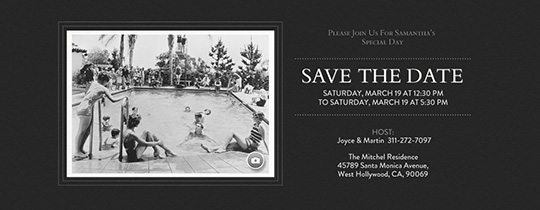 Basic Black Save the Date Invitation