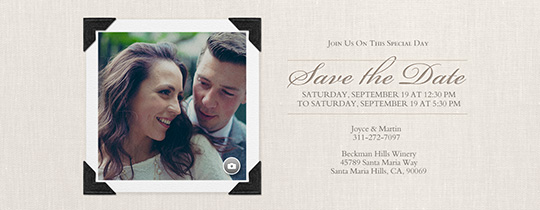 Basic Linen Ivory Save the Date Invitation