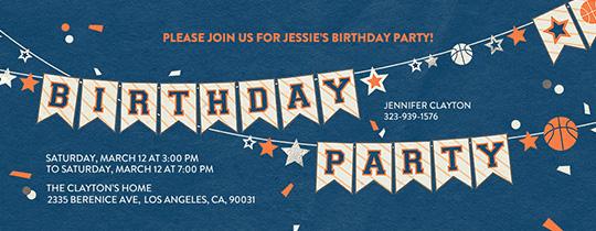 Basketball Birthday Banner Invitation Free