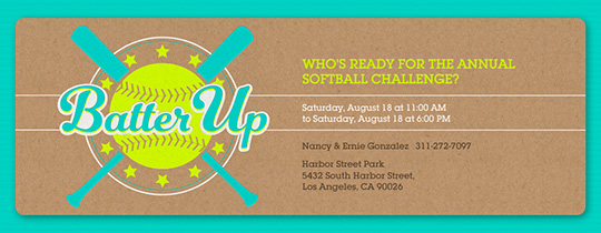 Batter Up Neon Invitation