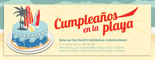 Beach Birthday Cake Spanish Invitation
