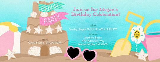 Beach Sandcastle Cake Invitation