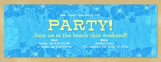 Beach Towel Party Invitation