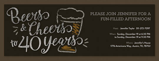 Beers and Cheers 40 Invitation