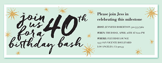 Birthday Bash 40 Invitation