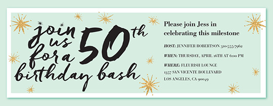Birthday Bash 50 Invitation