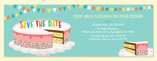 Birthday Cake Sprinkles Save the Date Invitation