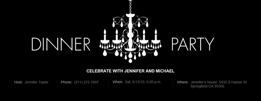 Black-and-White Dinner Invitation