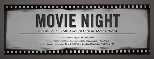 Movie Tv Night Free Online Invitations