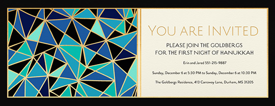 Blue Geo Hanukkah Invitation