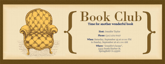 Book Club Chair Invitation
