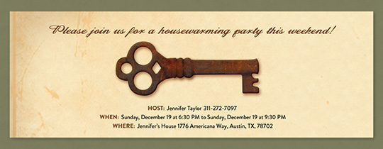 Brass Key Invitation