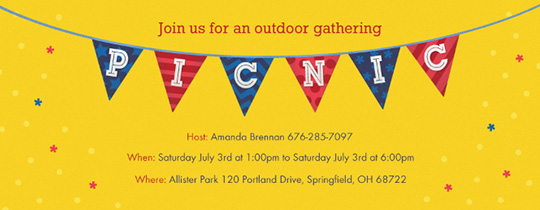 Bunting Picnic Invitation