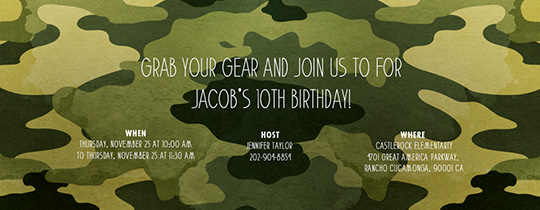 Camo Party Invitation