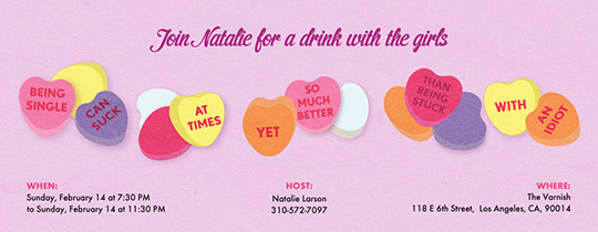 Candy Hearts Being Single Invitation
