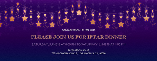 Free online ramadan invitations evite celestial garland invitation free celestial garland iftar party arabesque invitation stopboris Gallery
