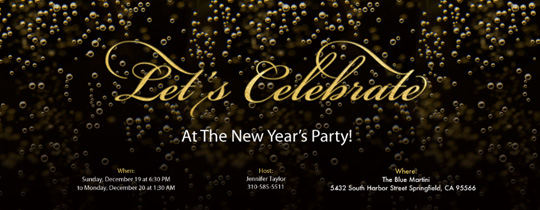new year party elements champagne bubbles invitation