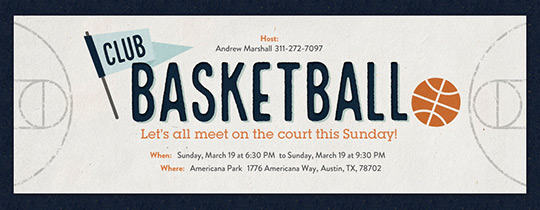 Club Basketball Invitation