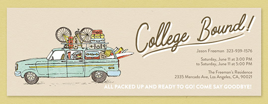 College Bound Wagon Invitation