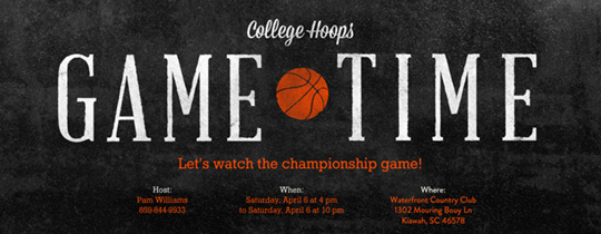 College Game Time Invitation