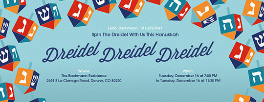 Colorful Dreidels Invitation