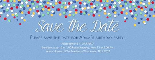 Confetti Blue Save the Date Invitation