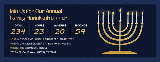 Countdown to Hanukkah Invitation