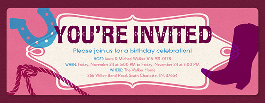 Invitations free ecards and party planning ideas from evite cowgirl invitation filmwisefo Images