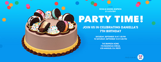 Free birthday invitations send online or by text evite party time cookie cake invitation stopboris Gallery