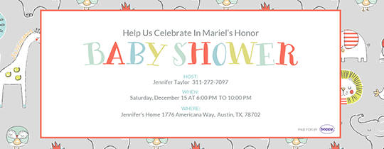Baby Shower Party Animals Invitation