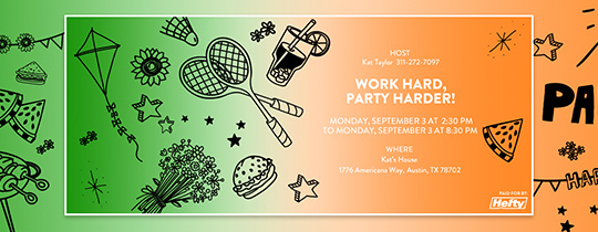 Work Hard, Party Harder Invitation